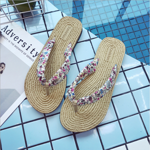 Cloth & Straw Flip-flops