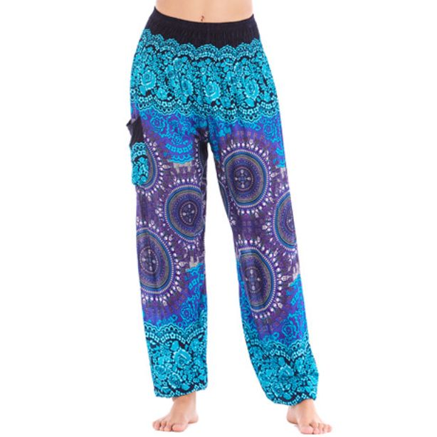 Hummingbird Compass Print Loose Yoga Pants (Handmade)