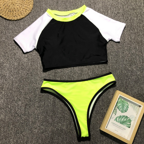 Contrast Color Short Sleeve Crop Top Bikini Set