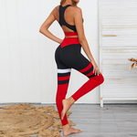 Hummingbird Contrast Racerback High Neck Sports Bra Striped Leggings Workout Set (4 colors)