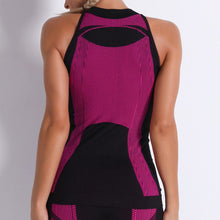 Load image into Gallery viewer, Necessitate self-discipline with this Contrast Seamless Cosmo Tank & Biker Shorts Set - Magenta. This matching workout set includes a tank top and a pair of biker shorts.Tank top has a high neck and is snugly fitted, supporting your movement as the final layer no matter what exercise you are engaging in. Biker shorts are high-waist fitted with above the knee length. Extensive and aesthetic ribbed panels accentuate your hard effort through self-discipline.