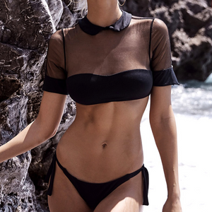 Cropped Short Sleeve Shirt Bikini Set