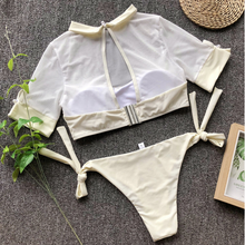 Load image into Gallery viewer, Cropped Short Sleeve Shirt Bikini Set