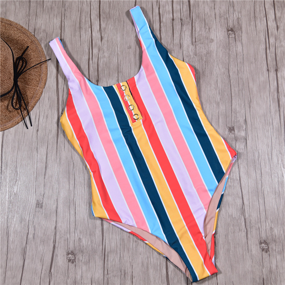 Rainbow Striped One Piece