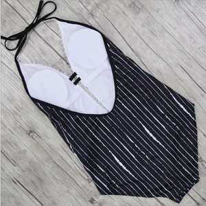 Lace Striped Deep V One Piece