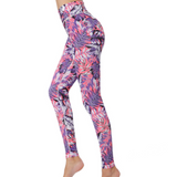 Digital Printing High Waisted Cropped Yoga Leggings (Leaf Patterns)