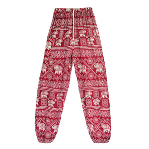 Featuring white elephants, geometric and floral elements, these Drawstring Elephant Diamond Loose Yoga Pants - Burgundy are the must-have companion for your yoga journey, be it for asanas, pranayama, or meditation. With high rise smocked waist, elastic ankles and an adjustable drawstring, these loose yoga pants can be adjusted to fit most body types. Handmade with breathable, soft, lightweight and quick dry fabric and natural dyeing techniques. Perfect for yoga, meditation, dancing or vacations.