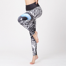 Load image into Gallery viewer, Hummingbird symbolic Eagle Eye Print Cropped Leggings made of high color fastness, breathable, high spandex fitted and fast dry fabric.