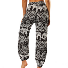 Load image into Gallery viewer, Hummingbird Elephant Loose Yoga Pants made of fast dry, soft and breathable material, perfect for meditation, dancing, yoga, summer vacation and street wear