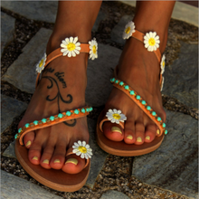 Load image into Gallery viewer, Hummingbird Floral Beaded Flat Sandals