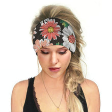 Load image into Gallery viewer, Hummingbird Floral - B Print Multifunctional Headband offers a secure fit to hold your hair back, and along with moisture-wicking fabric, allows you to stay fresh and focused on your workout. Perfect for all sorts of workout activities. Also suitable for daily wear as a hair band, head wrap, bandana, face cover, morning makeup and nighttime moisturizing.