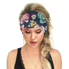 Load image into Gallery viewer, Hummingbird Floral - E Print Multifunctional Headband offers a secure fit to hold your hair back, and along with moisture-wicking fabric, allows you to stay fresh and focused on your workout. Perfect for all sorts of workout activities. Also suitable for daily wear as a hair band, head wrap, bandana, face cover, morning makeup and nighttime moisturizing.