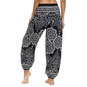 Hummingbird Flower Mandala Smocked Waist Loose Yoga Pants (2 colors)
