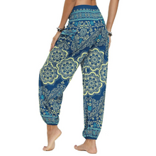 Load image into Gallery viewer, Hummingbird Flower Mandala Smocked Waist Loose Yoga Pants (2 colors)