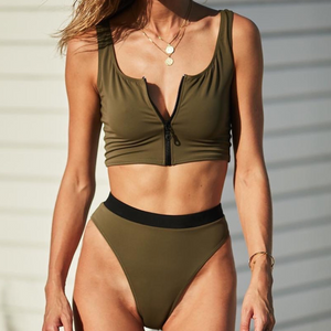 Front Zip High Waisted Tankini Set