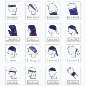 This Galaxy Print Multifunctional Neck Gaiter is so versatile that there are 16+ ways to wear it - neckerchief, headband, wristband, mask, hair-band, balaclava, face mask, face scarf, seamless mask, beanie, bandana, mouth mask, neck gaiter and more. Perfect for all sorts of outdoor activities including hiking, fishing, skiing, cycling, skating etc with UV protection and odor control.