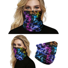 Load image into Gallery viewer, This Galaxy Print Multifunctional Neck Gaiter - Galaxy A is so versatile that there are 16+ ways to wear it - neckerchief, headband, wristband, mask, hair-band, balaclava, face mask, face scarf, seamless mask, beanie, bandana, mouth mask, neck gaiter and more. Perfect for all sorts of outdoor activities including hiking, fishing, skiing, cycling, skating etc with UV protection and odor control.