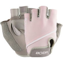 Load image into Gallery viewer, Say no to calluses, germs and hand fatigue with a pair of Half Finger Light Training Workout Gloves - Pink. Textured PU leather provides a firm grip on the bar. Padded faux suede in lower thumb adds additional cushioning and further prevents blisters or calluses. Rest of palm is stretchy and wicks moisture. Soft stretchy top and velcro give a custom fit. Terry cloth thumb removes perspiration. Faux suede pull tabs provide easy removal. Soft and form-fitting, suitable for weight training, spinning and more.
