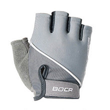 Load image into Gallery viewer, Say no to calluses, germs and hand fatigue with a pair of Half Finger Light Training Workout Gloves - Grey. Textured PU leather provides a firm grip on the bar. Padded faux suede in lower thumb adds additional cushioning and further prevents blisters or calluses. Rest of palm is stretchy and wicks moisture. Soft stretchy top and velcro give a custom fit. Terry cloth thumb removes perspiration. Faux suede pull tabs provide easy removal. Soft and form-fitting, suitable for weight training, spinning and more.