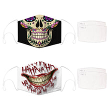 Load image into Gallery viewer, Enjoy Halloween while protecting yourself and others with this Halloween Printed Reusable Adjustable Face Mask - Sugar Skull + White Joker Smile. Worrying that face masks will get in the way of your Halloween look? You don't have to. This ready to go Halloween Printed Reusable Adjustable Face Mask allows you to enjoy this Halloween without compromising your look. Belongs to our Halloween Specials collection. Check out more face masks and face covers HERE. Shop our lanyards for face masks and glasses HERE.