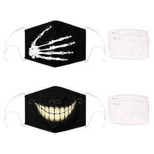 Enjoy Halloween while protecting yourself and others with this Halloween Printed Reusable Adjustable Face Mask - Skeleton Hand+Cheshire Cat Grin. Worrying that face masks will get in the way of your Halloween look? You don't have to. This ready to go Halloween Printed Reusable Adjustable Face Mask allows you to enjoy this Halloween without compromising your look. Belongs to our Halloween Specials collection. Check out more face masks and face covers HERE. Shop our lanyards for face masks and glasses HERE.