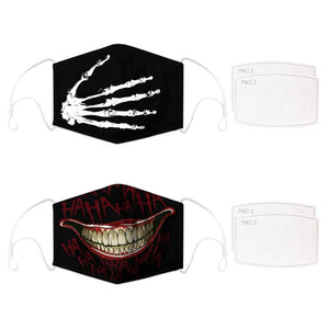 Enjoy Halloween while protecting yourself and others with this Halloween Printed Reusable Adjustable Face Mask - Skeleton Hand+Black Joker Smile. Worrying that face masks will get in the way of your Halloween look? You don't have to. This ready to go Halloween Printed Reusable Adjustable Face Mask allows you to enjoy this Halloween without compromising your look. Belongs to our Halloween Specials collection. Check out more face masks and face covers HERE. Shop our lanyards for face masks and glasses HERE.