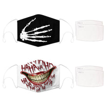 Load image into Gallery viewer, Enjoy Halloween while protecting yourself and others with this Halloween Printed Reusable Adjustable Face Mask - Skeleton Hand+White Joker Smile. Worrying that face masks will get in the way of your Halloween look? You don't have to. This ready to go Halloween Printed Reusable Adjustable Face Mask allows you to enjoy this Halloween without compromising your look. Belongs to our Halloween Specials collection. Check out more face masks and face covers HERE. Shop our lanyards for face masks and glasses HERE.