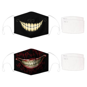 Enjoy Halloween while protecting yourself and others with this Halloween Printed Reusable Adjustable Face Mask-Cheshire Cat Grin+Black Joker Smile. Worrying that face masks will get in the way of your Halloween look? You don't have to. This ready to go Halloween Printed Reusable Adjustable Face Mask allows you to enjoy Halloween without compromising your look. Belongs to our Halloween Specials collection. Check out more face masks and face covers HERE. Shop our lanyards for face masks and glasses HERE.