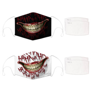 Enjoy Halloween while protecting yourself and others with this Halloween Printed Reusable Adjustable Face Mask-Black Joker Smile+White Joker Smile. Worrying that face masks will get in the way of your Halloween look? You don't have to. This ready to go Halloween Printed Reusable Adjustable Face Mask allows you to enjoy Halloween without compromising your look. Belongs to our Halloween Specials collection. Check out more face masks and face covers HERE. Shop our lanyards for face masks and glasses HERE.