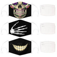 Load image into Gallery viewer, Enjoy Halloween while protecting yourself and others with this Halloween Printed Reusable Adjustable Face Mask-Sugar Skull+Skeleton Hand+Cheshire Cat Grin. Worrying that face masks will get in the way of your Halloween look? You don't have to. This ready to go Halloween Printed Face Mask allows you to enjoy Halloween without compromising your look. Belongs to our Halloween Specials collection. Check out more face masks and face covers HERE. Shop our lanyards for face masks and glasses HERE.