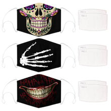 Load image into Gallery viewer, Enjoy Halloween while protecting yourself and others with this Halloween Printed Reusable Adjustable Face Mask-Sugar Skull+Skeleton Hand+Black Joker Smile. Worrying that face masks will get in the way of your Halloween look? You don't have to. This ready to go Halloween Printed Face Mask allows you to enjoy Halloween without compromising your look. Belongs to our Halloween Specials collection. Check out more face masks and face covers HERE. Shop our lanyards for face masks and glasses HERE.