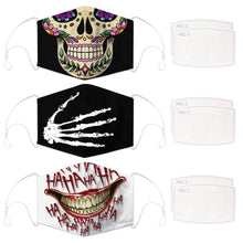 Load image into Gallery viewer, Enjoy Halloween while protecting yourself and others with this Halloween Printed Reusable Adjustable Face Mask-Sugar Skull+Skeleton Hand+White Joker Smile. Worrying that face masks will get in the way of your Halloween look? You don't have to. This ready to go Halloween Printed Face Mask allows you to enjoy Halloween without compromising your look. Belongs to our Halloween Specials collection. Check out more face masks and face covers HERE. Shop our lanyards for face masks and glasses HERE.