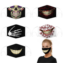 Load image into Gallery viewer, Enjoy Halloween while protecting yourself and others with this Halloween Printed Reusable Adjustable Face Mask - 5 Pack. Worrying that face masks will get in the way of your Halloween look? You don't have to. This ready to go Halloween Printed Reusable Adjustable Face Mask allows you to enjoy this Halloween without compromising your look. Belongs to our Halloween Specials collection. Check out more face masks and face covers HERE. Shop our lanyards for face masks and glasses HERE.