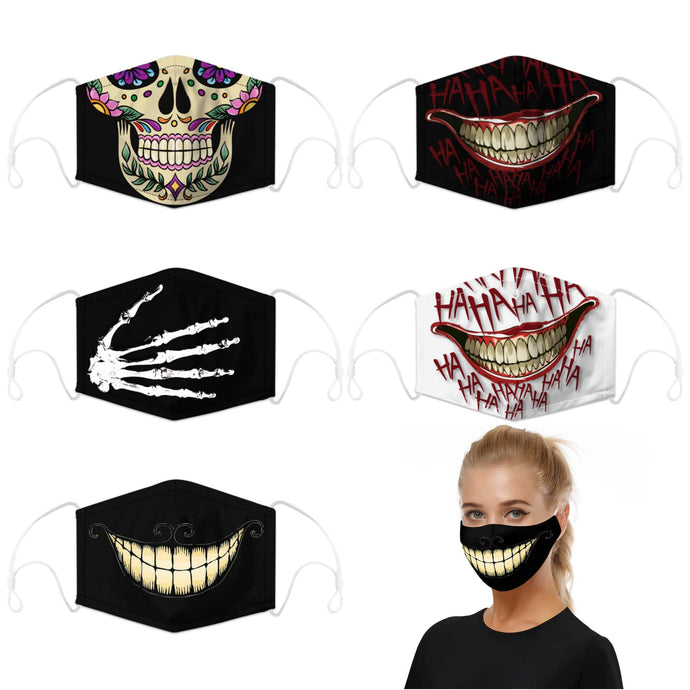 Enjoy Halloween while protecting yourself and others with this Halloween Printed Reusable Adjustable Face Mask - 5 Pack. Worrying that face masks will get in the way of your Halloween look? You don't have to. This ready to go Halloween Printed Reusable Adjustable Face Mask allows you to enjoy this Halloween without compromising your look. Belongs to our Halloween Specials collection. Check out more face masks and face covers HERE. Shop our lanyards for face masks and glasses HERE.