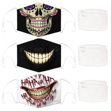 Load image into Gallery viewer, Enjoy Halloween while protecting yourself and others with this Halloween Printed Reusable Adjustable Face Mask-Sugar Skull+Cheshire Cat Grin+White Joker Smile. Worrying that face masks will get in the way of your Halloween look? You don't have to. This ready to go Halloween Printed Face Mask allows you to enjoy Halloween without compromising your look. Belongs to our Halloween Specials collection. Check out more face masks and face covers HERE. Shop our lanyards for face masks and glasses HERE.