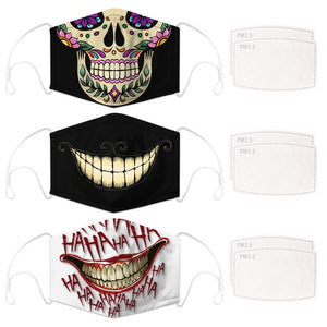 Enjoy Halloween while protecting yourself and others with this Halloween Printed Reusable Adjustable Face Mask-Sugar Skull+Cheshire Cat Grin+White Joker Smile. Worrying that face masks will get in the way of your Halloween look? You don't have to. This ready to go Halloween Printed Face Mask allows you to enjoy Halloween without compromising your look. Belongs to our Halloween Specials collection. Check out more face masks and face covers HERE. Shop our lanyards for face masks and glasses HERE.