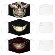 Load image into Gallery viewer, Enjoy Halloween while protecting yourself and others with this Halloween Printed Reusable Adjustable Face Mask-Sugar Skull+Cheshire Cat Grin+Black Joker Smile. Worrying that face masks will get in the way of your Halloween look? You don't have to. This ready to go Halloween Printed Face Mask allows you to enjoy Halloween without compromising your look. Belongs to our Halloween Specials collection. Check out more face masks and face covers HERE. Shop our lanyards for face masks and glasses HERE.