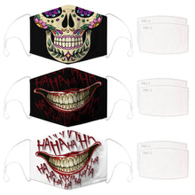 Load image into Gallery viewer, Enjoy Halloween while protecting yourself and others with this Halloween Printed Reusable Adjustable Face Mask-Sugar Skull+Black Joker Smile+White Joker Smile. Worrying that face masks will get in the way of your Halloween look? You don't have to. This ready to go Halloween Printed Face Mask allows you to enjoy Halloween without compromising your look. Belongs to our Halloween Specials collection. Check out more face masks and face covers HERE. Shop our lanyards for face masks and glasses HERE.