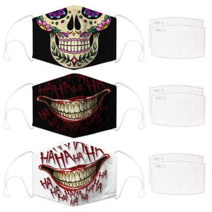 Enjoy Halloween while protecting yourself and others with this Halloween Printed Reusable Adjustable Face Mask-Sugar Skull+Black Joker Smile+White Joker Smile. Worrying that face masks will get in the way of your Halloween look? You don't have to. This ready to go Halloween Printed Face Mask allows you to enjoy Halloween without compromising your look. Belongs to our Halloween Specials collection. Check out more face masks and face covers HERE. Shop our lanyards for face masks and glasses HERE.