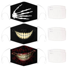 Load image into Gallery viewer, Enjoy Halloween while protecting yourself and others with this Halloween Printed Reusable Adjustable Face Mask-Skeleton Hand+Cheshire Cat Grin+Black Joker Smile. Worrying that face masks will get in the way of your Halloween look? You don't have to. This ready to go Halloween Printed Face Mask allows you to enjoy Halloween without compromising your look. Belongs to our Halloween Specials collection. Check out more face masks and face covers HERE. Shop our lanyards for face masks and glasses HERE.