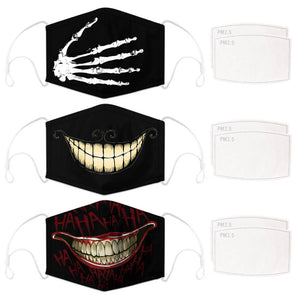 Enjoy Halloween while protecting yourself and others with this Halloween Printed Reusable Adjustable Face Mask-Skeleton Hand+Cheshire Cat Grin+Black Joker Smile. Worrying that face masks will get in the way of your Halloween look? You don't have to. This ready to go Halloween Printed Face Mask allows you to enjoy Halloween without compromising your look. Belongs to our Halloween Specials collection. Check out more face masks and face covers HERE. Shop our lanyards for face masks and glasses HERE.