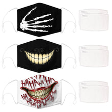 Load image into Gallery viewer, Enjoy Halloween while protecting yourself and others with this Halloween Printed Reusable Adjustable Face Mask-Skeleton Hand+Cheshire Cat Grin+White Joker Smile. Worrying that face masks will get in the way of your Halloween look? You don't have to. This ready to go Halloween Printed Face Mask allows you to enjoy Halloween without compromising your look. Belongs to our Halloween Specials collection. Check out more face masks and face covers HERE. Shop our lanyards for face masks and glasses HERE.