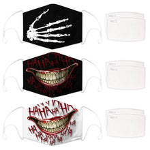 Load image into Gallery viewer, Enjoy Halloween while protecting yourself and others with this Halloween Printed Reusable Adjustable Face Mask-Skeleton Hand+Black Joker Smile+White Joker Smile. Worrying that face masks will get in the way of your Halloween look? You don't have to. This ready to go Halloween Printed Face Mask allows you to enjoy Halloween without compromising your look. Belongs to our Halloween Specials collection. Check out more face masks and face covers HERE. Shop our lanyards for face masks and glasses HERE.