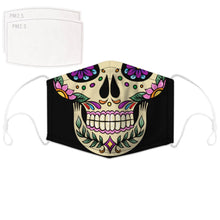 Load image into Gallery viewer, Enjoy Halloween while protecting yourself and others with this Halloween Printed Reusable Adjustable Face Mask - Sugar Skull. Worrying that face masks will get in the way of your Halloween look? You don't have to. This ready to go Halloween Printed Reusable Adjustable Face Mask allows you to enjoy this Halloween without compromising your look. Belongs to our Halloween Specials collection. Check out more face masks and face covers HERE. Shop our lanyards for face masks and glasses HERE.