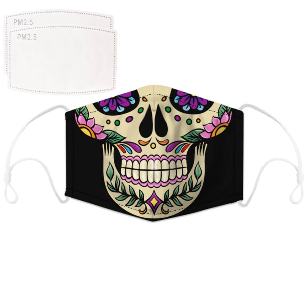 Enjoy Halloween while protecting yourself and others with this Halloween Printed Reusable Adjustable Face Mask - Sugar Skull. Worrying that face masks will get in the way of your Halloween look? You don't have to. This ready to go Halloween Printed Reusable Adjustable Face Mask allows you to enjoy this Halloween without compromising your look. Belongs to our Halloween Specials collection. Check out more face masks and face covers HERE. Shop our lanyards for face masks and glasses HERE.