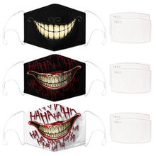 Load image into Gallery viewer, Enjoy Halloween while protecting yourself and others with this Halloween Printed Reusable Adjustable Face Mask-Cheshire Cat Grin+Black Joker Smile+White Joker Smile. Worrying that face masks will get in the way of your Halloween look? You don't have to. This ready to go Halloween Printed Face Mask allows you to enjoy Halloween without compromising your look. Belongs to our Halloween Specials collection. Check out more face masks and face covers HERE. Shop our lanyards for face masks and glasses HERE.