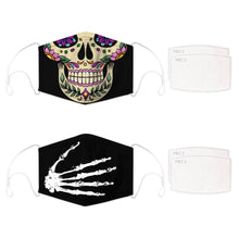 Load image into Gallery viewer, Enjoy Halloween while protecting yourself and others with this Halloween Printed Reusable Adjustable Face Mask - Sugar Skull + Skeleton Hand. Worrying that face masks will get in the way of your Halloween look? You don't have to. This ready to go Halloween Printed Reusable Adjustable Face Mask allows you to enjoy this Halloween without compromising your look. Belongs to our Halloween Specials collection. Check out more face masks and face covers HERE. Shop our lanyards for face masks and glasses HERE.