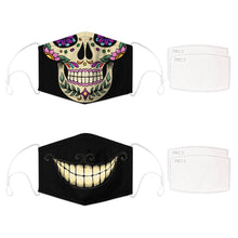 Load image into Gallery viewer, Enjoy Halloween while protecting yourself and others with this Halloween Printed Reusable Adjustable Face Mask - Sugar Skull + Cheshire Cat Grin. Worrying that face masks will get in the way of your Halloween look? You don't have to. This ready to go Halloween Printed Reusable Adjustable Face Mask allows you to enjoy this Halloween without compromising your look. Belongs to our Halloween Specials collection. Check out more face masks and face covers HERE. Shop our lanyards for face masks and glasses HERE.