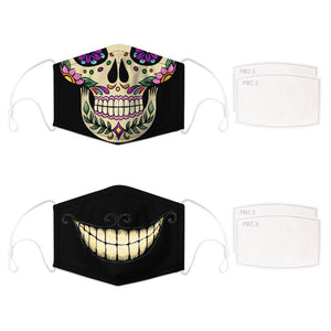 Enjoy Halloween while protecting yourself and others with this Halloween Printed Reusable Adjustable Face Mask - Sugar Skull + Cheshire Cat Grin. Worrying that face masks will get in the way of your Halloween look? You don't have to. This ready to go Halloween Printed Reusable Adjustable Face Mask allows you to enjoy this Halloween without compromising your look. Belongs to our Halloween Specials collection. Check out more face masks and face covers HERE. Shop our lanyards for face masks and glasses HERE.