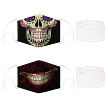 Load image into Gallery viewer, Enjoy Halloween while protecting yourself and others with this Halloween Printed Reusable Adjustable Face Mask - Sugar Skull + Black Joker Smile. Worrying that face masks will get in the way of your Halloween look? You don't have to. This ready to go Halloween Printed Reusable Adjustable Face Mask allows you to enjoy this Halloween without compromising your look. Belongs to our Halloween Specials collection. Check out more face masks and face covers HERE. Shop our lanyards for face masks and glasses HERE.